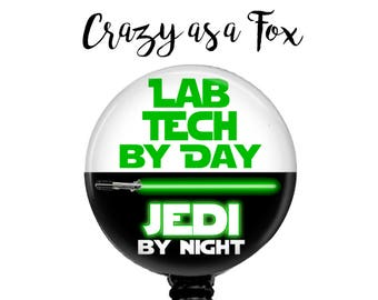 """Star Wars """"Lab Tech by Day Jedi by Night"""" Retractable Badge Holder, Badge Reel, Lanyard, Stethoscope ID Tag, Lab Tech Gift"""