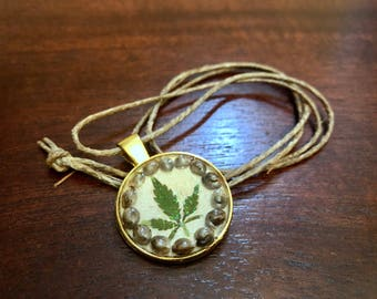 Cannabis Leaf and Seed Charm Necklace