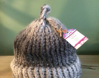 One of a Kind Hand Knitted Acrylic/Wool Blend Slouch Hat