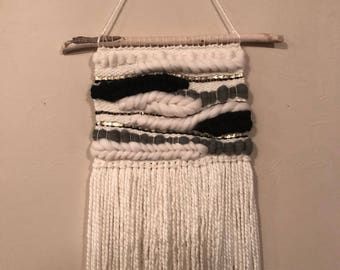 Large Neutral White Black and Grey woven wall hanging\boho\