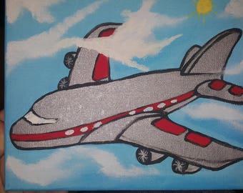 "8""x10""  Child's Airplane painting"