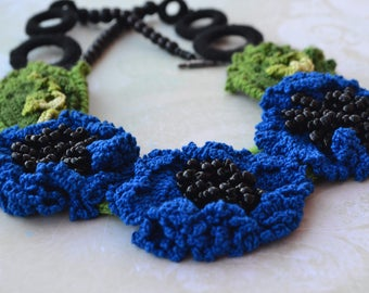 "Necklace ""Blue cornflowers"""