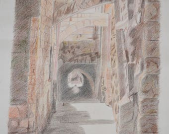 Bethlehem Old City 12 - Pencil Drawing / Colored