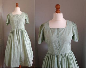 Vintage 1950's style Green Pinstripe Dress, Size Medium-Large