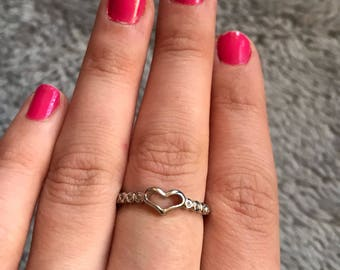 Silver Heart ring with clear gems 925