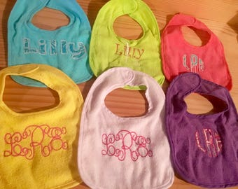 Monogram baby bibs