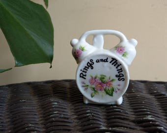 Rings and things small floral clock ring/jewelry dish