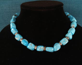 Silver and Blue Stone Southwest Style necklace- Southwestern Jewelry- Turquoise- Indian Style- 925 Sterling- Heart Clasp- Southwest Boho