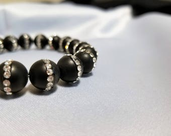 Black Onyx with Rhinestones - Gorgeous bracelet - FREE gift box and card