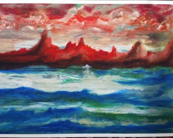 """9 x 12 Print of Acrylic Painting """"Clay and Sea"""""""