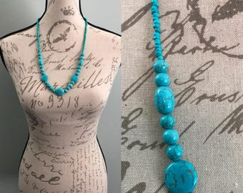 """Turquoise glass bead necklace 33"""""""