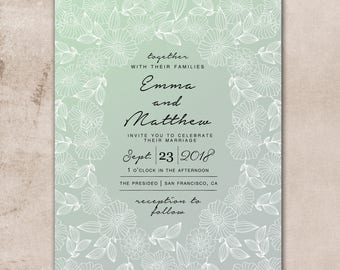 Wedding Invitation, Wedding Invitation with Matching RSVP and Other Information Card, Traditional Wedding Invitation, Floral Wedding Invite