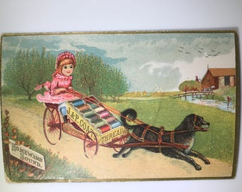 1800's Victorian Trade Card - J & P Coats Best Six-Cord Spool Cotton