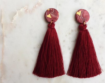 Red Wine - Polymer Clay Statement Earrings