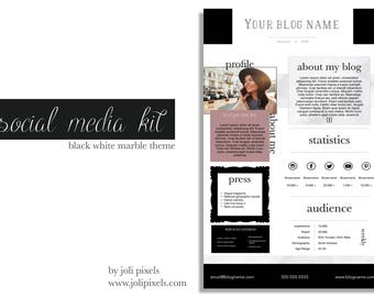 Social Media Kit | Blogger Media Kit | Social Media Templates | Branding package | Marble template | Social Branding