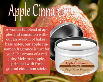 Apple Cinnamon Scented Soy Candle Tin (8 oz.)