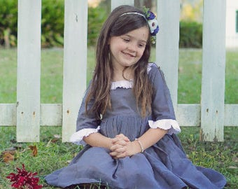 """Gray, White, Cotton, Silk, Girl""""s Dress, Twirly Skirt, Fully Lined, Special Occasion, Church Dress Boutique Design,, Classic, Heirloom"""