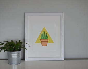 Geometric Shape Succulent Instant Art Download