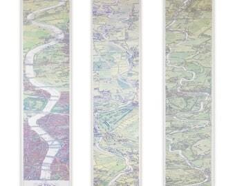 Carte de bande victorien de la Tamise de peint à la main