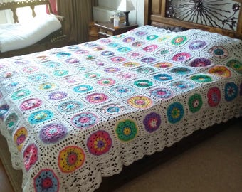 crocheted couch cloth or bedspreads. Price is per granny.