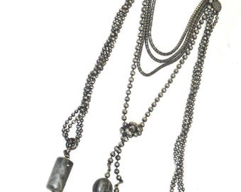 GIORGIO ARMANI. Italy. Vintage Gunmetal Necklace (Earrings Listed Separately)