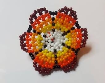 Flower chaquira ring