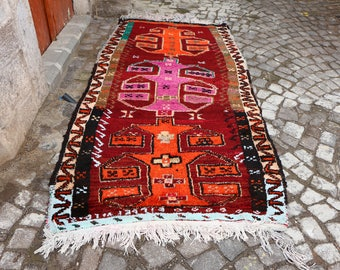 antique vintage turkish rug, hallway rug,  Free Shipping 4.4 x 8.7 ft. oushak runner rug, bohemian rug, very unique wool vintage rug MB248