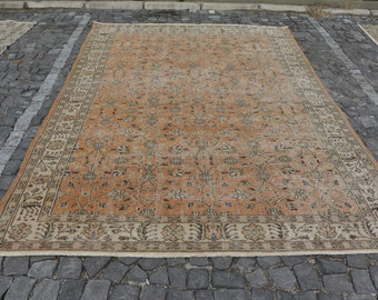 Oversize turkish rug, Free Shipping 6.9 x 9.7 ft. orange color rug, floral bohemian rug, oushak rug, anatolian area rug, aztec rug, MB457