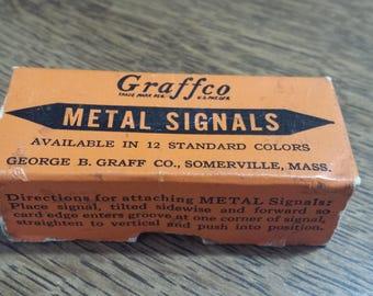 Vintage Graffco Metal Signals for index cards