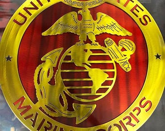 "18"" United States Marine Corp Sign - Double Layer"