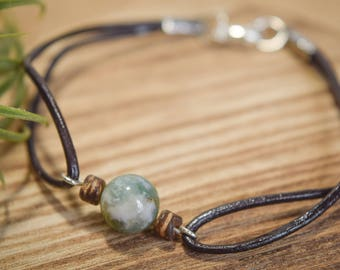 Gemstone and Wooden Bead Leather Cord Boho Bracelet