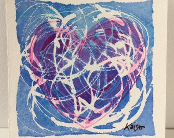 Hand painted original watercolor painting of a heart