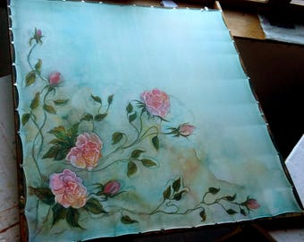 Hand painted silk scarf with roses