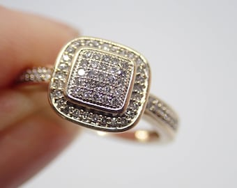 9ct Yellow gold, Diamond ring with valuation 850  our price now 600 Size N.5