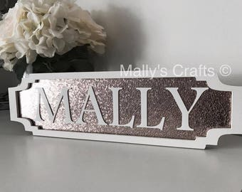 Personalised Name Glitter Plaque Sign