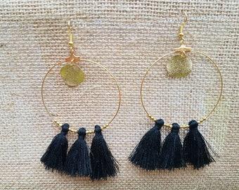 Hoop sequins, tassels and beads