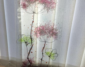 Glass art fused glass and copper panel