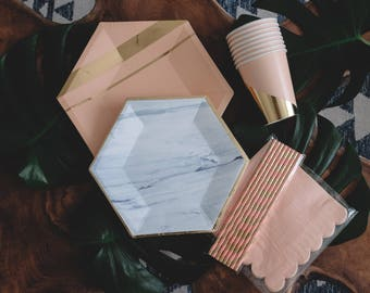 Blush and Marble Party Paper Plates, Gold Foil Plates, Paper Blush Straws, Pink and gold cups, 40 pcs