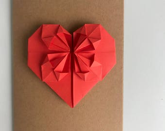 valentines day origami heart card