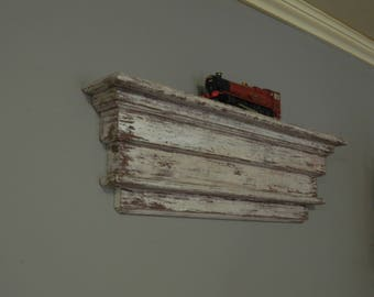 hand made floating mantle shelf, shabby country distressed finish