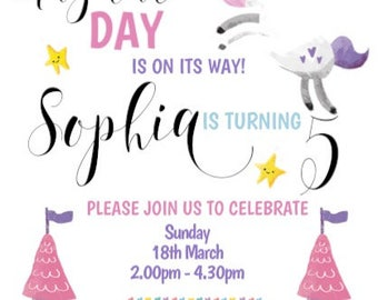Personalised Unicorn Invitions with foil font