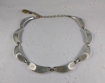 Vintage Silver Tone Choker Necklace - 17 Inches