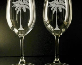 Etched Palm Tree wine glasses,  set of 2!