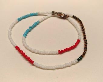 Beaded Bracelet - White, Blue and Brown