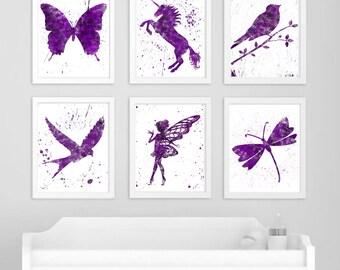 Wings and Things Purple Splatter Wall Art