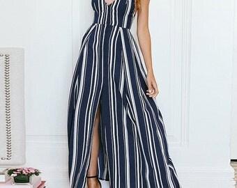 High Split Stripe Summer Beach Dress