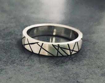 Sterling Silver oxidised Wide Ring