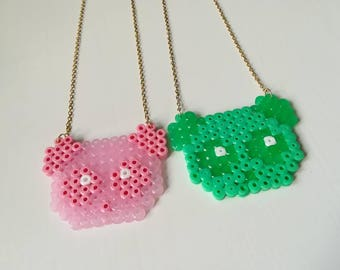 Pink kawaii panda necklace or green shiny cute