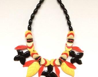 Fun Yellow,Red,Cream and Black Plastic Necklace Circa 1950s