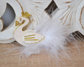 Barrette Swan feathers and sequins